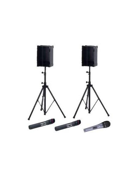 Kit Sonorisation 2 Micro HF Main, 2 Haut-Parleurs sur Pieds + 1 Micros à Fils