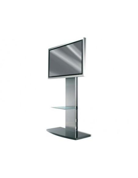 Pied Sol PLASMA et LCD Hauteur 1,5m Noir & Argent)